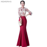 MZMSRHS Elegant 3 4 Sleeves Evening Dress Candy Color Lace Special Occasion Gowns Black Red Wine