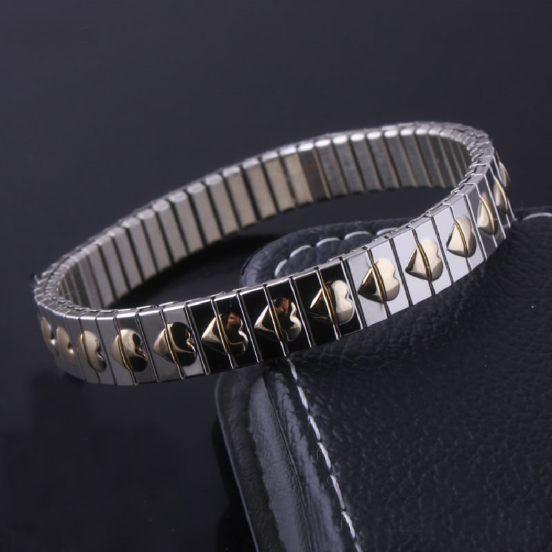 Stainless Steel Jewelry Bracelet,Gothic, plated, Unisex & with heart pattern & two tone, 9mm, Sold Per Approx 7.4 Inch Strand