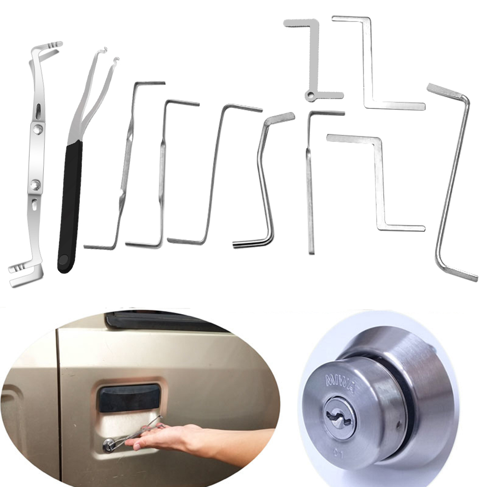 Liushi 11pcs/lot Locksmith Tools Row Tension Wrench Tools Stainless Steel High Quality,Lock Pick Set