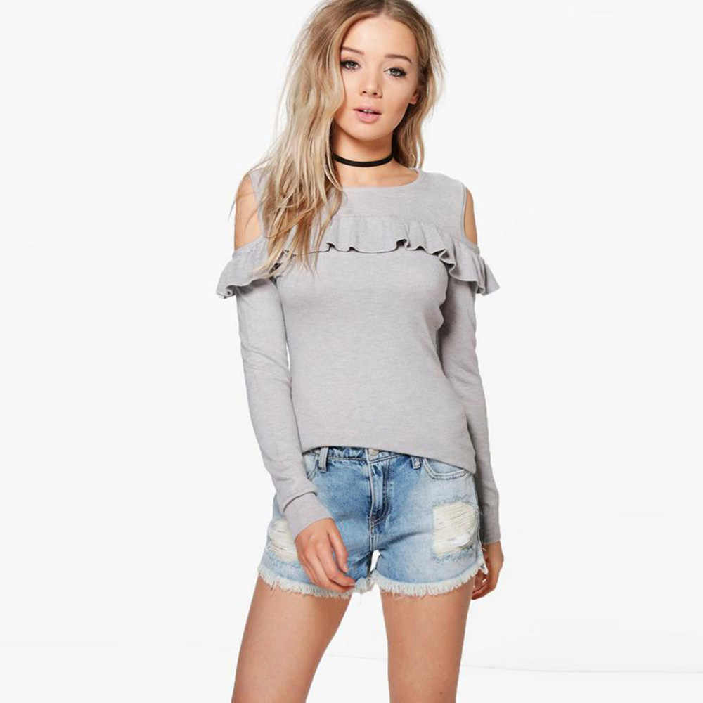 HDY Haoduoyi Autumn Women New Fashion Pink Sweater Casual Solid Gray Cold Shoulder Ladies Tops Brief Ruffles Lady Pullovers