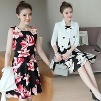 الخريف ثوب إمرأة جديد القادمين اثنين اللون سترة قصيرة أزياء فساتين طباعة الأزهار اللباس الدعاوى للسيدات 2 أجزاء