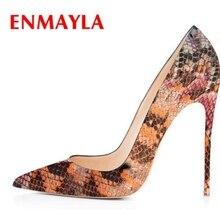 ENMAYLA PU  Thin Heels Shoes Woman Casual Pointed Toe Slip-On Ladies High Heel Size34-43 ZYL2255