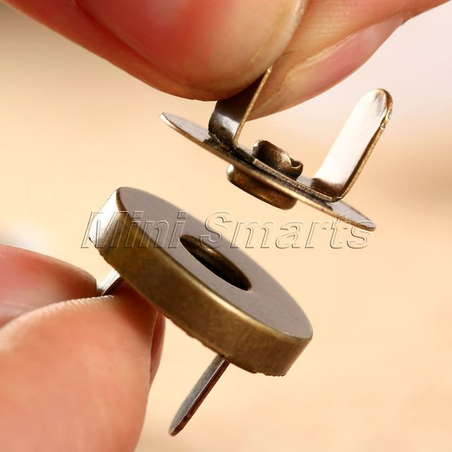 10 Sets Bag Purse Clasps Sewing Ons Magnetic Metal Snaps Fasteners Handbag Craft Leather Coat