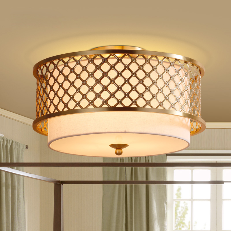 Американский король, потолочный светильник для спальни, медная лампа, простая, пасторальная, для исследования, маленькая, круглая, новая сет