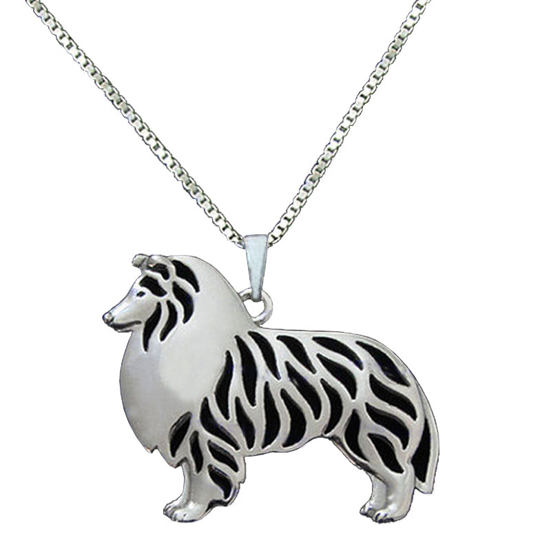 Standing Rough Collie Dog Pendant Silver Plated Animal Necklace For