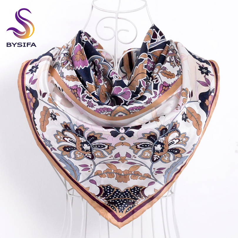 Ladies Khaki   Scarves     Wraps   Fashion Apparel China Style Floral Design 100% Silk Twill Square   Scarf   Shawl 90*90cm Spring Muffler