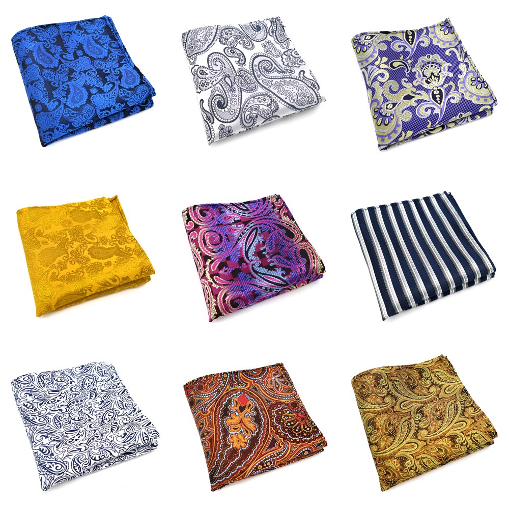 33 Color Fashion Mens Polyester Silk Pocket Squares 25CM Paisley Design Man Handkerchief Groom Wedding Party Chest Towel Hankies