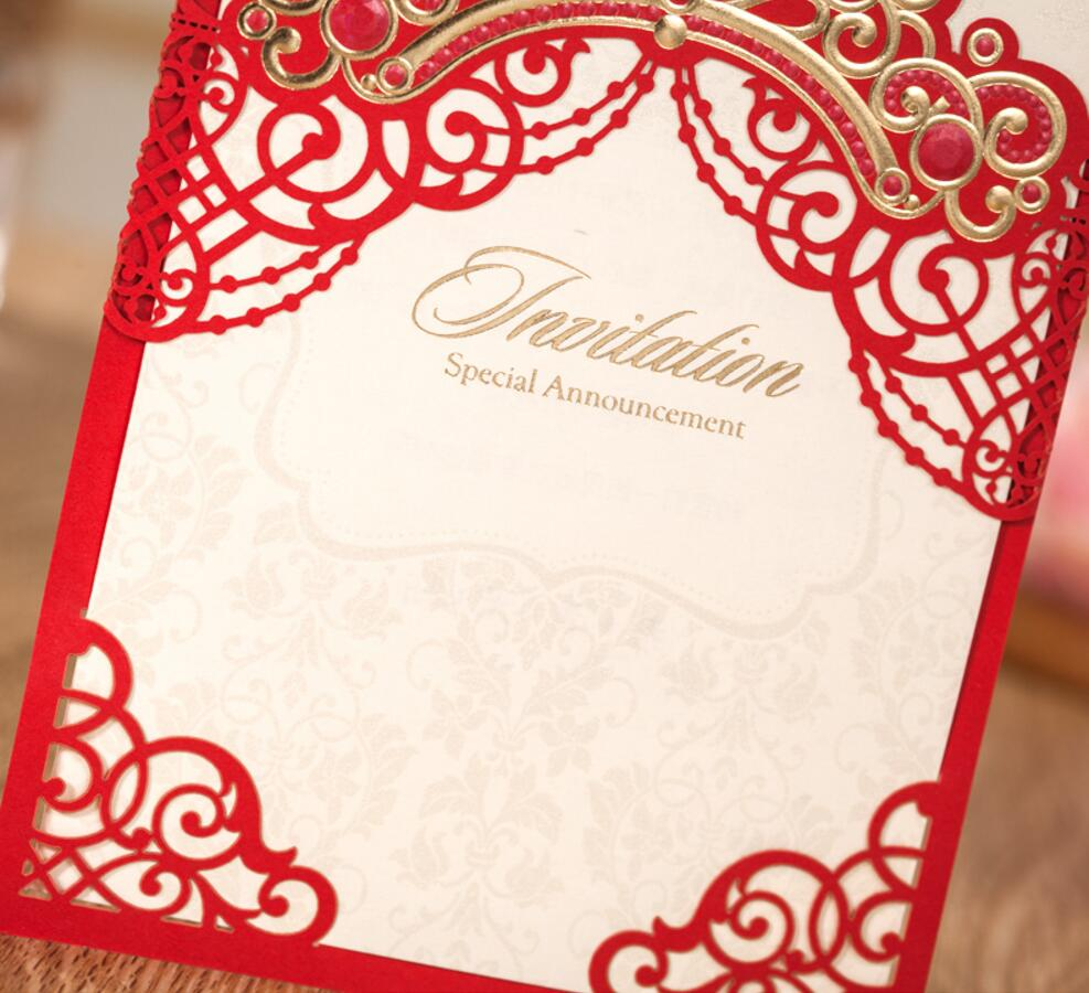 Red Pink Crown Wedding Party Invitations Card Customized