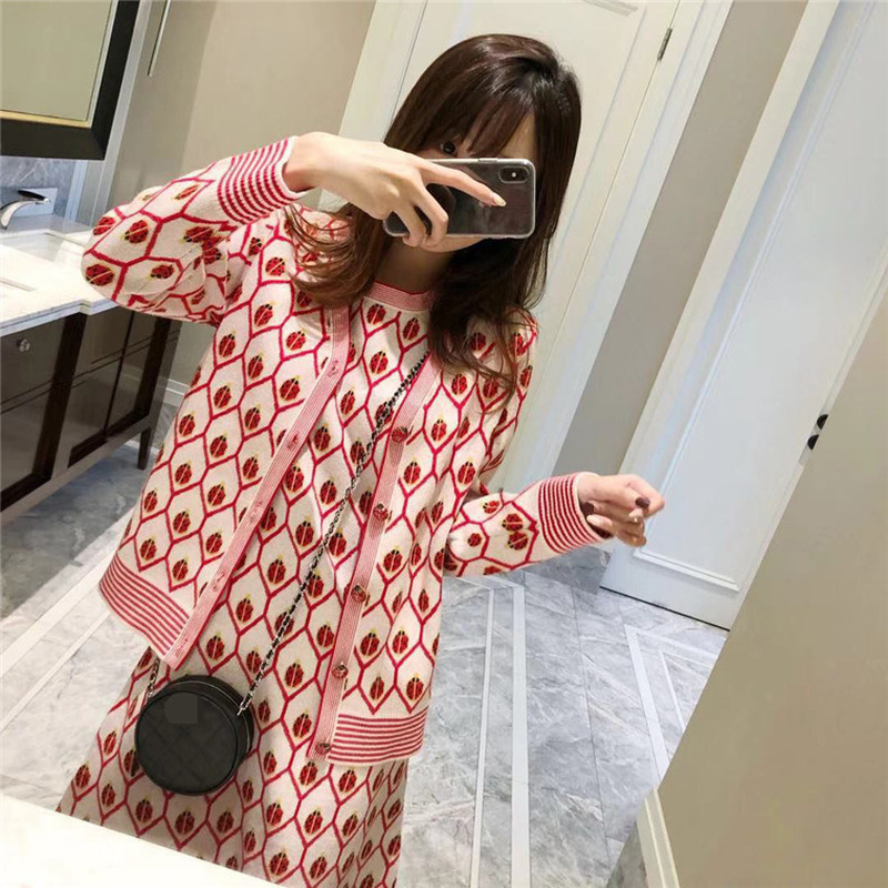 Fashion Sweater Set Elegant Ladies O neck Geometric Ladybug Jacquard Sleeveless Knit Vest Dress and Cardigan Sweater Sets Suit