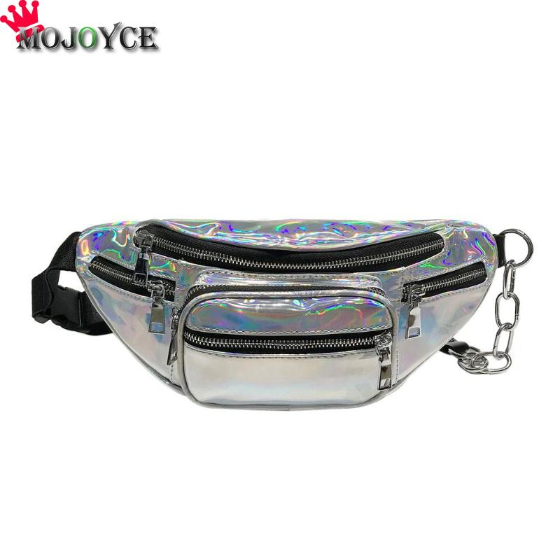 MOJOYCE font b Women b font Shining Chain Crossbody Laser Chest Pack Waist Outdoors Handbag Hip