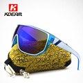 Kdeam feliz hombre deporte al aire libre gafas de sol con el caso del diseñador de moda gafas de sol grandes de las mujeres anteojos de sol gafas uv400 ce