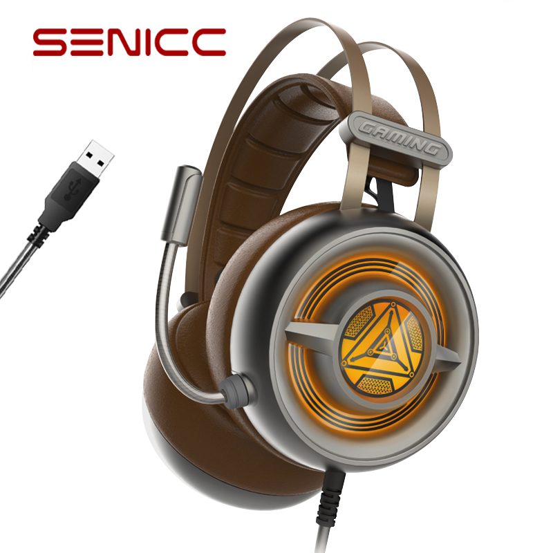 SENICC W263 Noise Cancelling Gaming Headphones with Mic Stereo Surround Sound Headset Over-Ear PC Headphone with LED Light