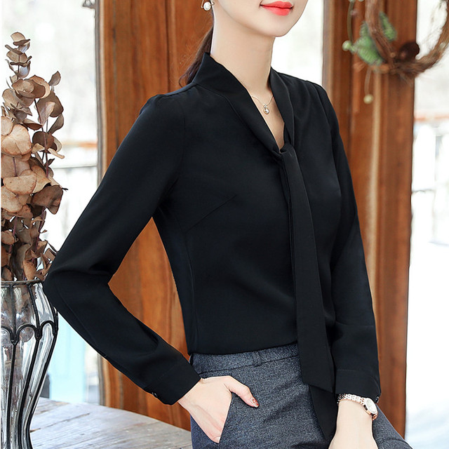 2018 Elegant long sleeve блузка женская fashion colthes bow chiffon blouse office ladies formal plus size tops
