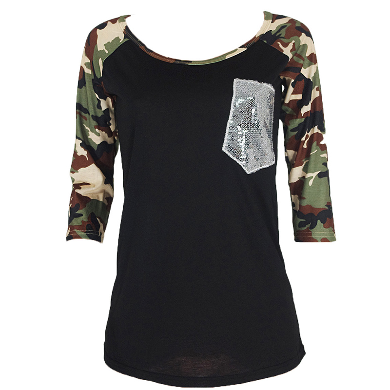 2016 new t shirt women camouflage patchwork sleeve t shirt for Pocket tee shirts for womens