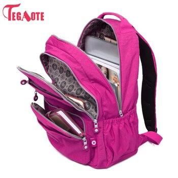 TEGAOTE กระเป๋าเป้สะพายหลังโรงเรียนสำหรับวัยรุ่นสาว Mochila Feminina ผู้หญิงกันน้ำไนล่อนแล็ปท็อป Bagpack หญิง