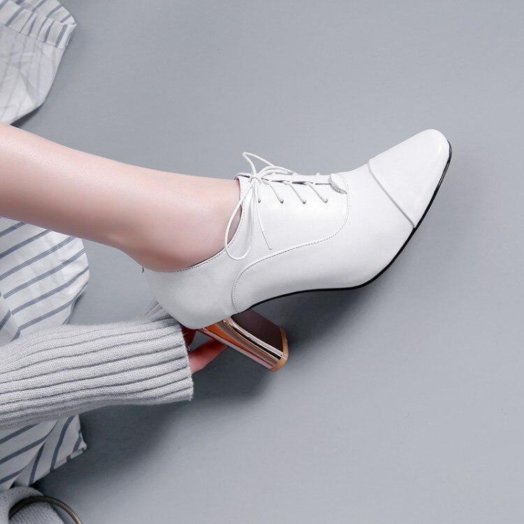 Moda Nuevos Puntiagudo 2019 Del Las Cuero Zapatos Negro Dedo Alto Primavera Encaje Vestido Genuino Mujer Pie Zorssar De blanco Superficial Mujeres Tacón wqYOE0d