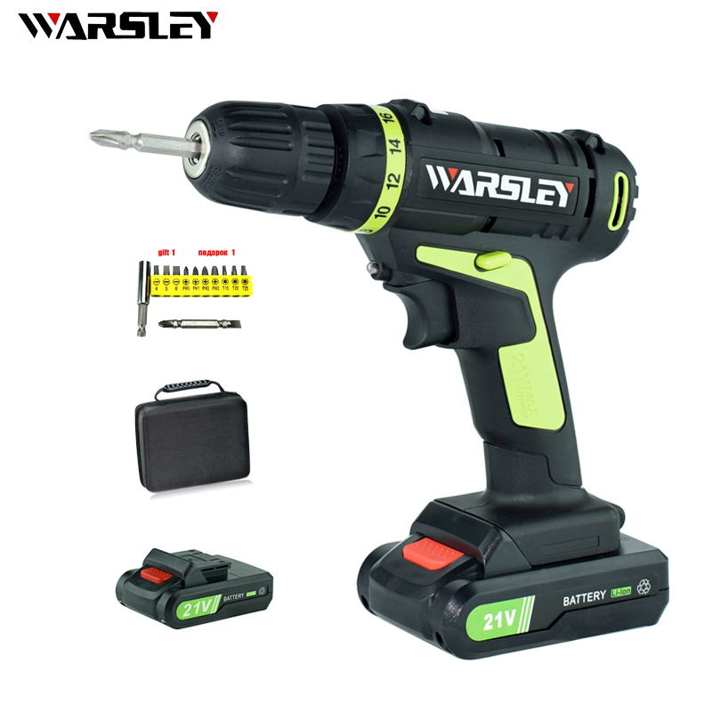 21V Lithium Battery*2 Torque Electric Drill Cordless Electric Screwdriver Rechargeable Parafusadeira Furadeira Power Tools free shipping brand proskit upt 32007d frequency modulated electric screwdriver 2 electric screwdriver bit 900 1300rpm tools
