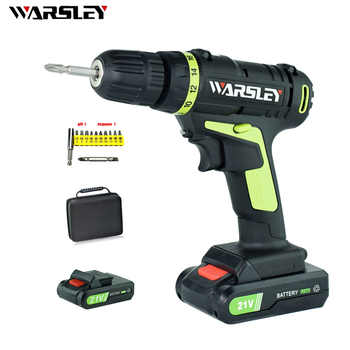 21V Lithium Battery*2 Torque Electric Drill Cordless Electric Screwdriver Rechargeable Parafusadeira Furadeira Power Tools - SALE ITEM Tools