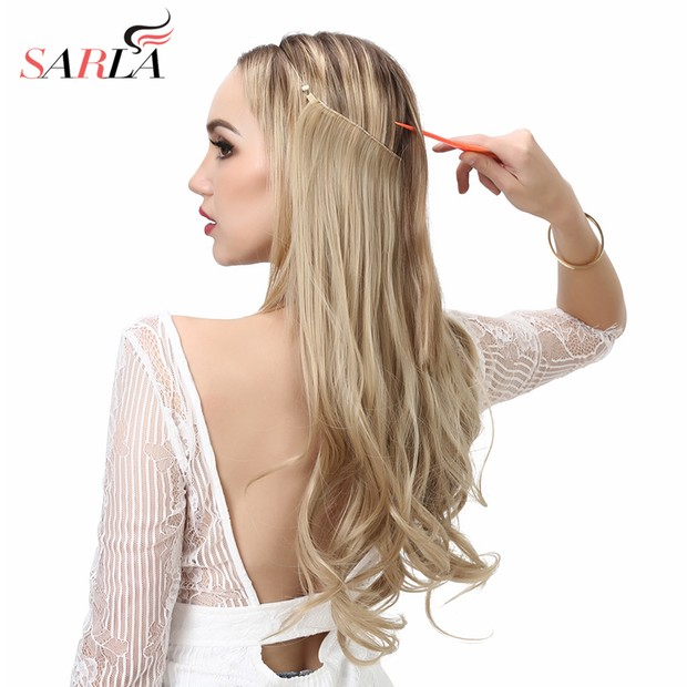 SARLA 14 16 18 Synthetic Flip In Natural Wave Halo Hair Extensions Invisible Hidden Secret Wire Crown Headband Hair Extension