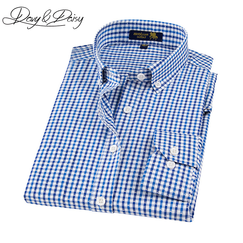 DAVYDAISY New Arrival Mens Shirts Slim Fit Long Sleeve Casual Solid Printed Plaid Oxford Shirt Dress Men High Quality DS-129