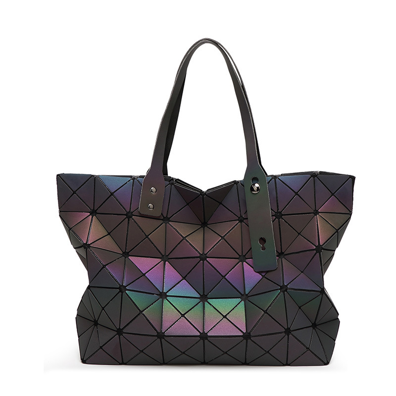 women bag handbags Lattice Ladies Bag Geometric Diamond Fashion luminous  Hologr
