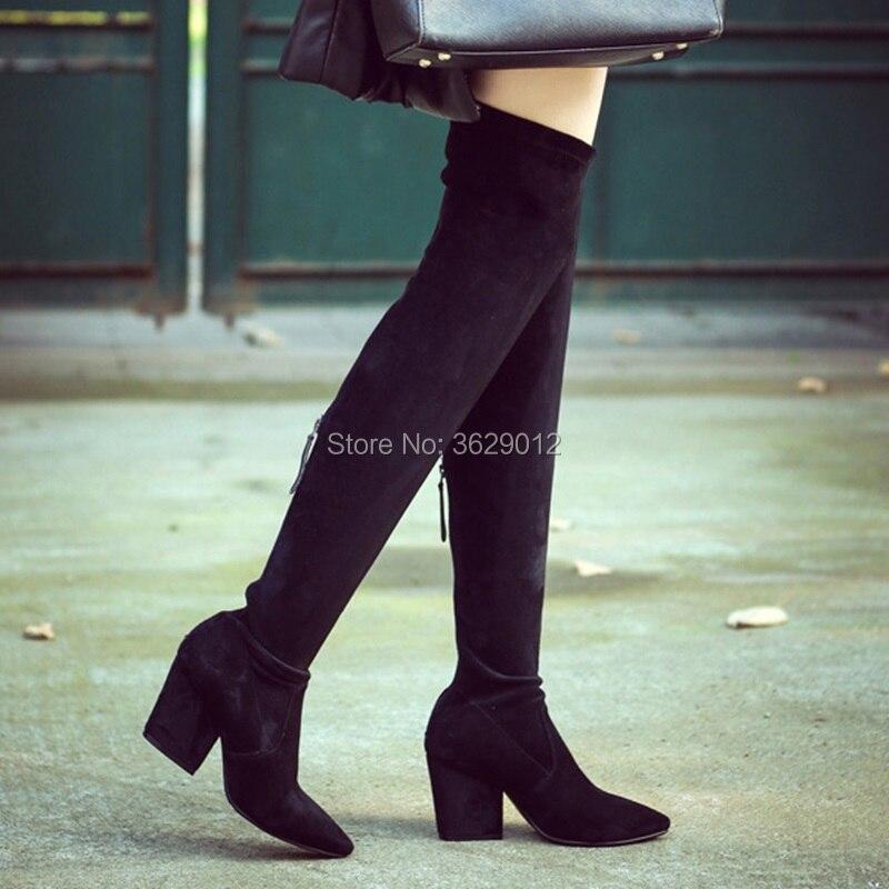 Genou Nouveau Bout Hauts Longues Retour Zipper Pointu Bottes Chaussures Épais Femmes Talons Sur Le xIqavIr