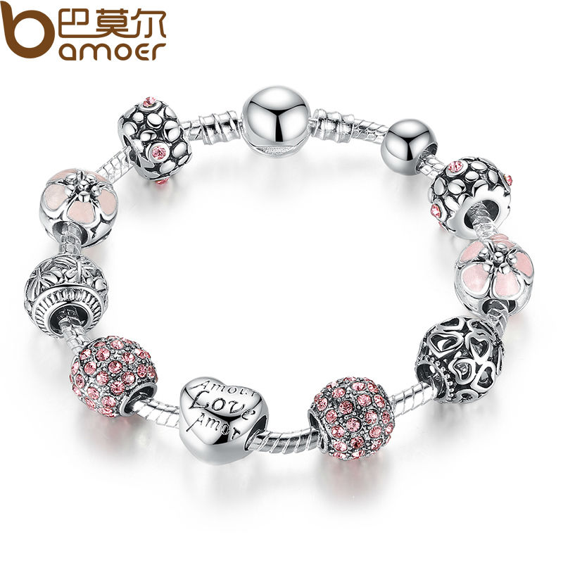 Bamoer antique silver charm bracelet bangle with love and flower crystal ball women wedding valentine s