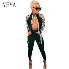 YEYA 2 Piece Set Lace Up Bandage Jumpsuit Stand Neck Zipper Hollow Out Bodycon Romper Sexy Party Club Wear Long Sleeve Overalls