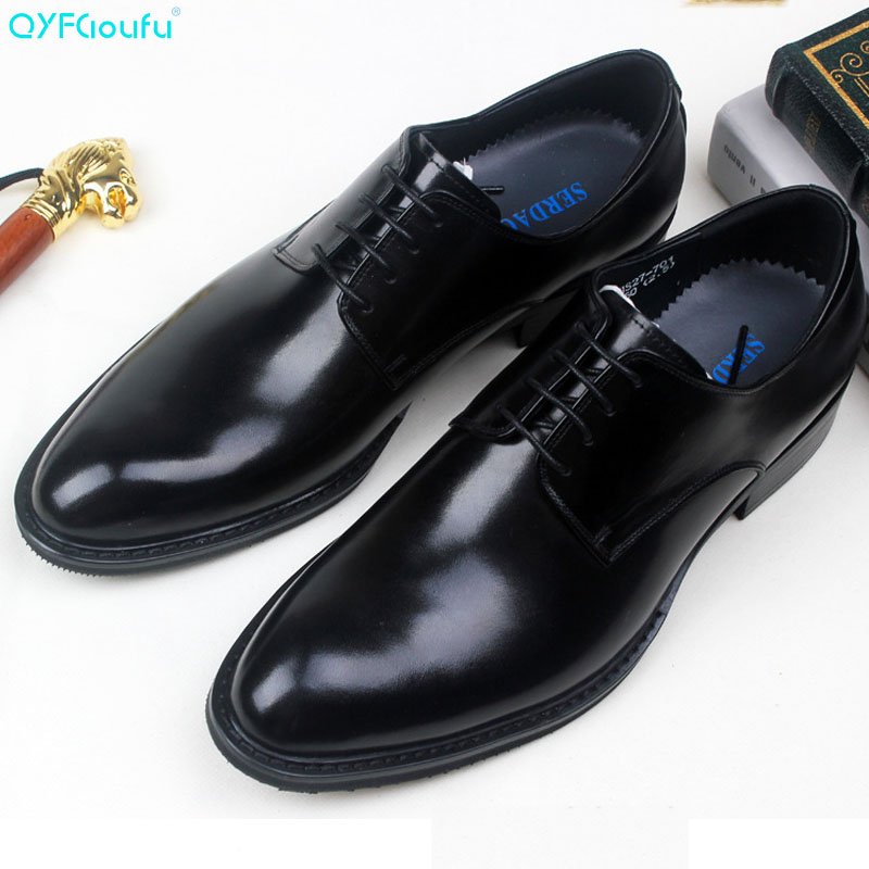 QYFCIOUFU British Brown Leather Pointed Toe Business Mens Shoes Fashion Lace up Man Shoes Handmade Formal Men Wedding Shoes in Formal Shoes from Shoes