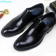QYFCIOUFU British Brown Leather Pointed Toe Business Mens Shoes Fashion Lace-up Man Shoes Handmade Formal Men Wedding Shoes цены онлайн
