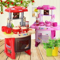 2 Colors Children Kitchen Toys For Girls Cooking Toys Kids Pretend Play Sets Toys With Light
