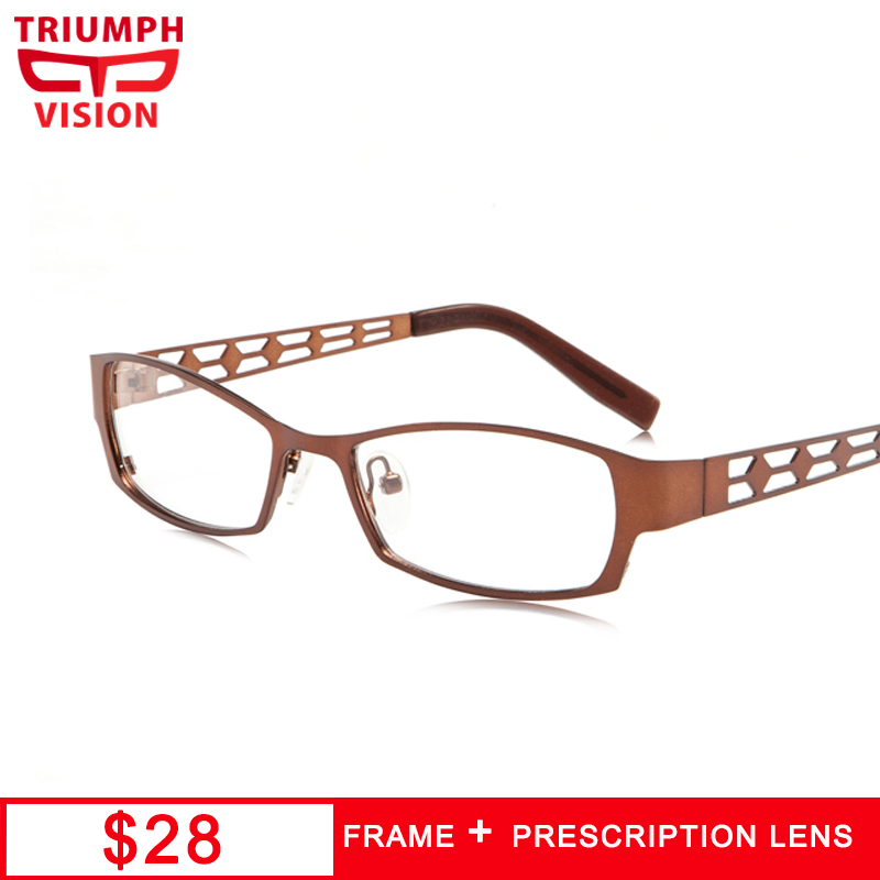 TRIUMPH VISION Square Minus Male Glasses Lattice Design Reading Prescription Eyeglasses Optical Clear Progressive Eyewear Men