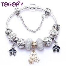 TOGORY Прямая поставка подлинный цвет серебра талисман браслет для женщин подходит прекрасный браслет ювелирные изделия DIY ручной работы подарки для подруги