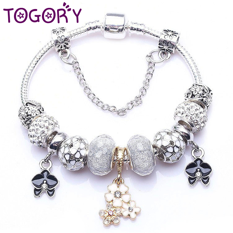 TOGORY Dropshipping Authentic Silver Color Charm Bracelet for Women Fit Fine Bracelet Jewelry DIY Handmade Girlfriend Gifts