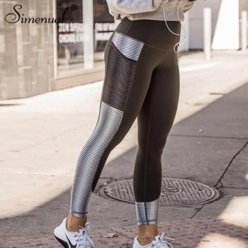 Simenual Harajuku striped leggings for fitness women 2018 mesh pocket athleisure legging sportswear fashion bodybuilding jegging 1