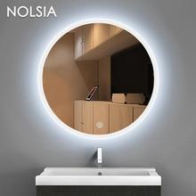 Круглый гардеробная зеркало LED свет Luminaria Ванная комната туалет светодиодный Бра + сенсорный выключатель зеркало для макияжа с светодиодные полосы лампа