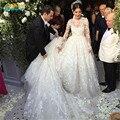 Саудовская Аравия Аппликации Свадебное Платье Съемная Поезд Vestidos De Novia Длинным Рукавом 2016 Русалка Свадебные Платья Мантия De Mariage
