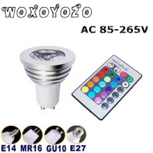 Hot Sale Free shipping GU10 E27 E14 B22 IR Remote Energy Saving Changing LED Bulb Color RGB 6w AC 85-265V light Lamp MR16 12V