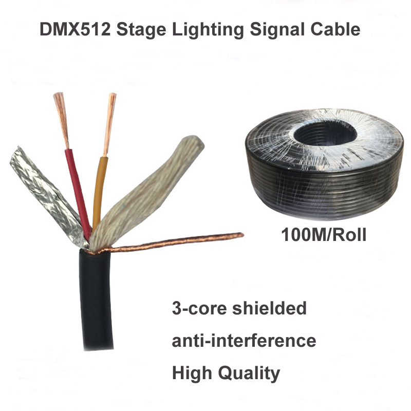 Black 100m Roll Diy Dmx512 Stage Lighting Cable To Connect