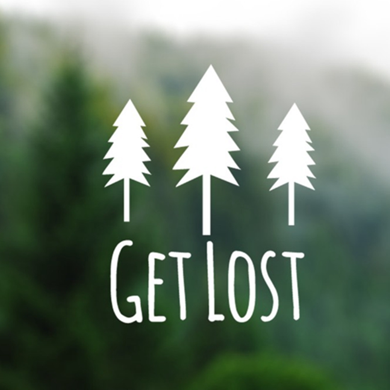 Get Lost - Pine Trees Silhouette Vinyl Decal Sticker Computers Laptops Wallpapers Adventure Nature Car Decals Vinyl Stickers alice in wonderland wall decal quote cheshire sayings we re all mad here vinyl decal for macbooks laptops car windows etc