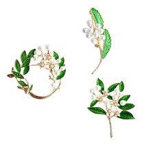 SANSUMMER Elegant Retro Alloy Drop Oil Green Plant Flower Pearl Brooch 2019 New Style Fashionable Temperament Women's Brooch alloy flower brooch