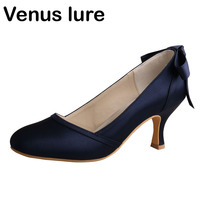 Venus lure Custom Handmade Women Closed Toe Navy Blue Wedding Shoes for Bride with Bows