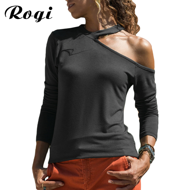 87fabec0466c15 Rogi T Shirt Women 2019 New Casual Long Sleeve Shirt Fashion Sexy One Off  Shoulder Top Tee Shirt Femme Camisas Mujer Plus Size