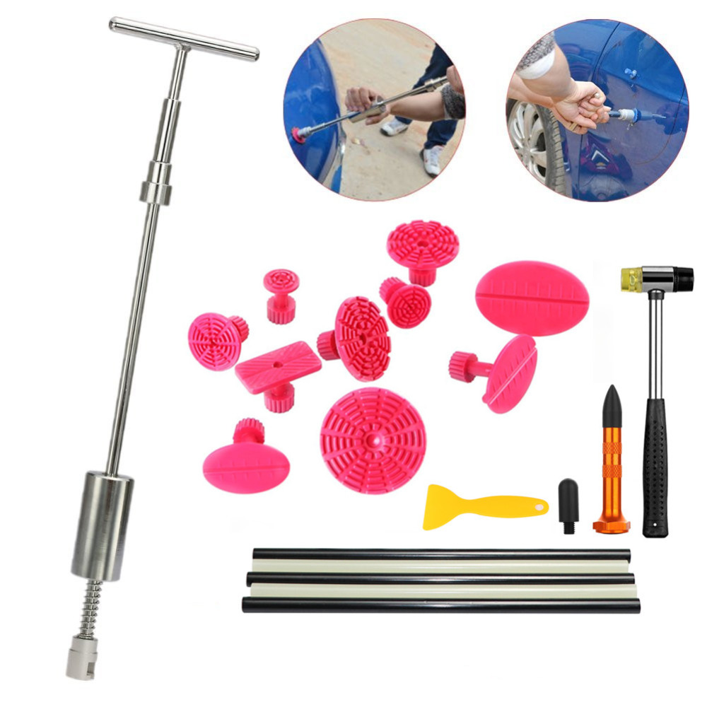 Paintless Dent Repair Tools Kit - Grip PRO Slide Hammer with 10pcs Dent Removal Pulling Tabs Car Dent Repair Tools for Vehicle
