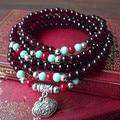 2016 New Garnet Beads Bracelets Vintage Handmade Beaded Bracelet Lucky Lock Jewelry For Women 0186