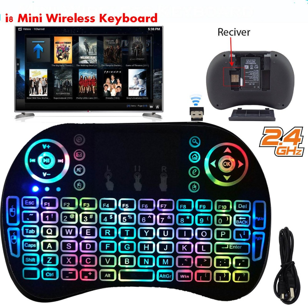 7 Color Backlit RGB I8 Mini Wireless Keyboard 2.4GHz Air Mouse Touchpad English Russian RGB Remote Control For Android TV Box PC