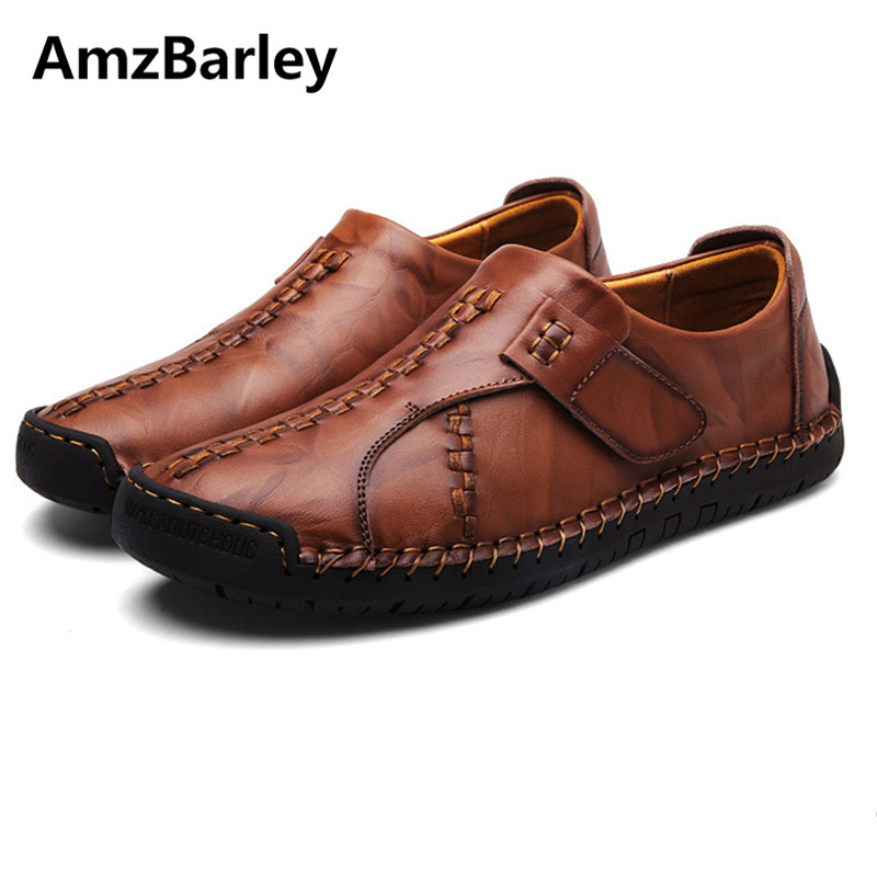 AmzBarley Men Shoes Casual Flats Genuine Leather Patchwork Slip On Man's Brown Black Colors Handmade High Quality Size 38-44 gram epos men casual shoes top quality men high top shoes fashion breathable hip hop shoes men red black white chaussure hommre