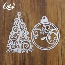 QITAI 3Pcs Cutting dies DIY Metal home Decorations Tree and Christmas ball Modern Craft Scrapbooking popular Children Gifts D146