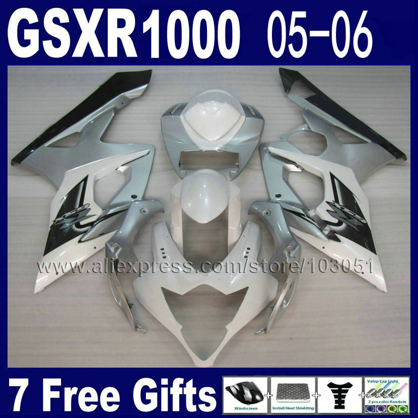Custom Injection moulding ABS fairings kit for suzuki K5 2005 kits 2006 gsxr 1000  05 06 white silver motorcycle fairing kit custom road fairing kits for suzuki glossy flat black 2006 gsxr 1000 k5 2005 gsx r1000 06 05 motorcycle fairings kit
