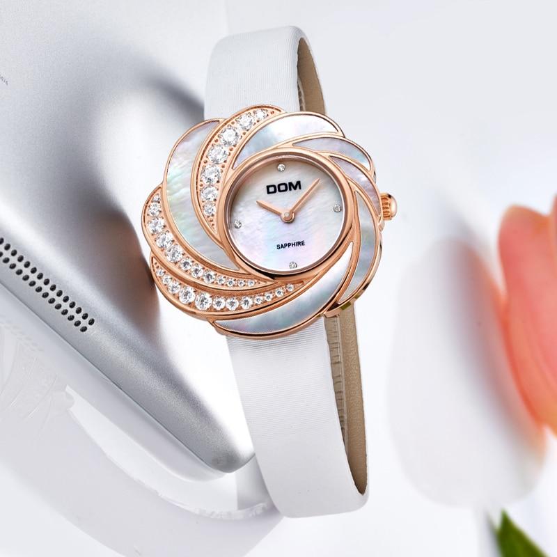 DOM quartz luxury brandwatches waterproof style leather sapphire crystal watch women G-655GL-7M цена и фото